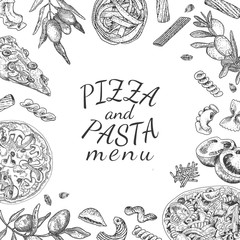 Ink hand drawn pizza and pasta menu template