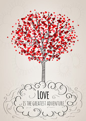 Romantic Valentine card with a tree