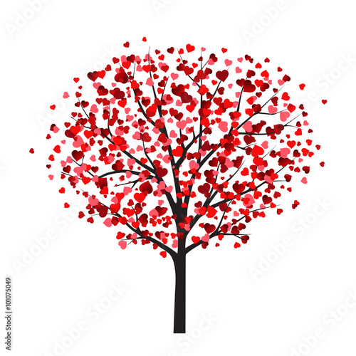 Valentine card template with tree with heart shaped leaves stock valentine card template with tree with heart shaped leaves mightylinksfo