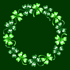 Doodle green clover shamrock circle wreath Saint Patrick's Day vector line art isolated