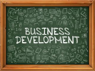 Business Development - Hand Drawn on Green Chalkboard.