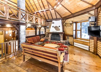 Traditional wooden interior with table and fixtures - mountain r