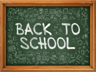 Back To School - Hand Drawn on Green Chalkboard.
