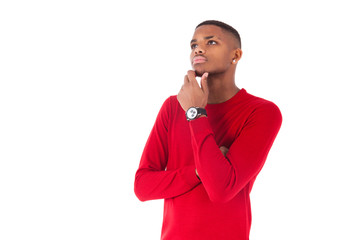 Portrait of a thoughtful young african american man looking up