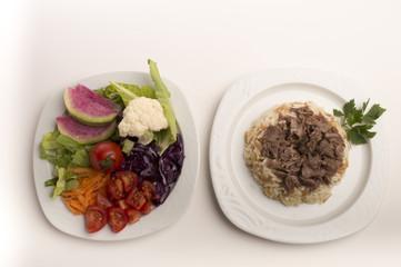 rice and salad