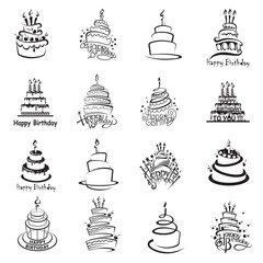 monochrome set of sixteen cakes