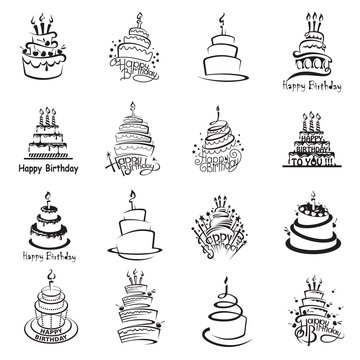 monochrome set of sixteen cakes