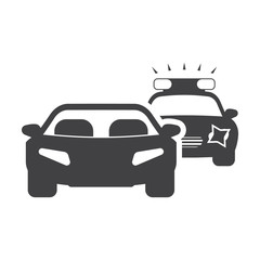 car chase black simple icon on white background for web