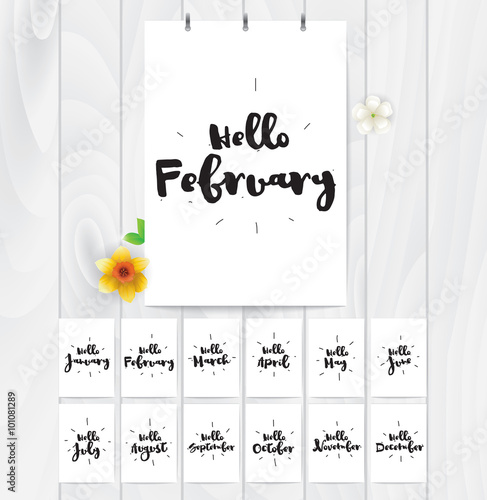Hello month 12 cards  Hand drawn design, calligraphy  Vector