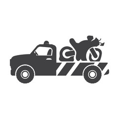 tow truck black simple icons set for web