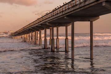 Early morning at Ocean Beach fishing pier in San Diego, California