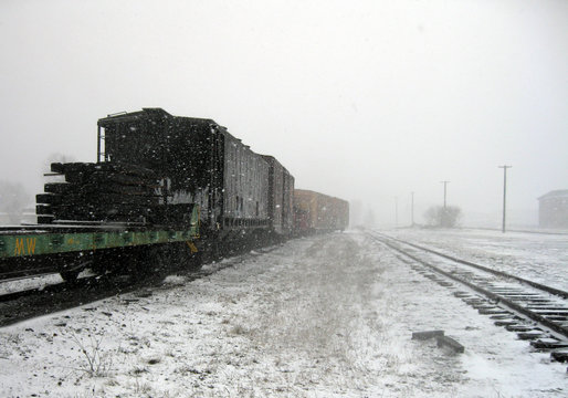 A train in the railway yard during a snowstorm.