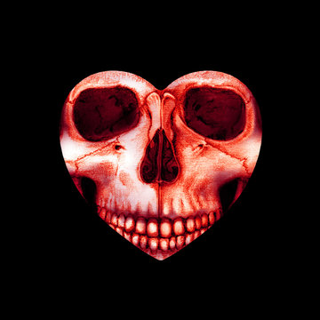 valentine scary red skull in heart