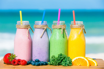Assortment of fresh smoothies.
