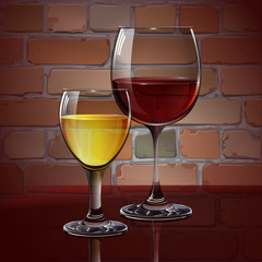Glass wine glass with red wine, white wine, cocktail, cider. A realistic, transparent. Brick wall. Vector.