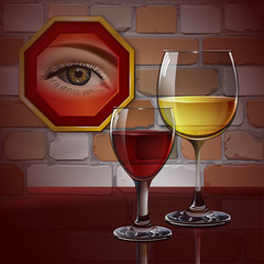 Glass wine glass with red wine, white wine, cocktail, cider. Female eye in the frame. A realistic, transparent. Brick wall. Vector.