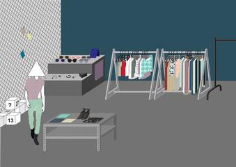 shopping mall illustration