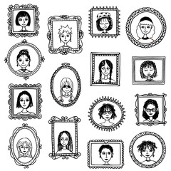 Girl portraits - cute hand drawn picture frames with women