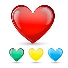 Heart Love glossy symbol set. Isolated on white. Vector illustra