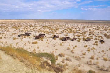 Ships in the desert on the former site of the Aral Sea.