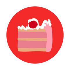 Unhealthy Ice Cream Cake Flat Vector Icon