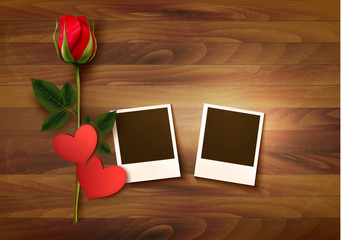 Valentine's day background with two photos, hearts, and a rose.