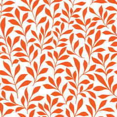 Seamless orange wild herbs pattern