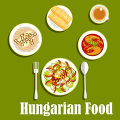Dinner with dessert of hungarian cuisine