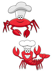 Cartoon red crab and shrimp chefs in cook hats