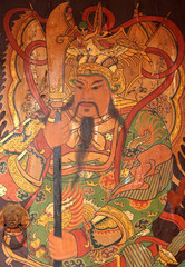 Chinese style painting on entrance door of shrine in Thailand