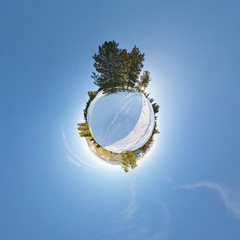 Trees in the snow. Spherical Panorama 360, little planet