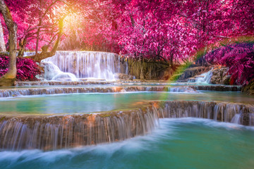 Tuinposter Watervallen Waterfall in rain forest (Tat Kuang Si Waterfalls at Luang praba