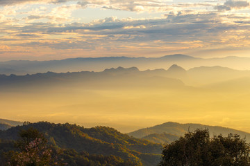 Layer of mountains and mist at sunset time, Landscape at Doi Luang Chiang Dao, High mountain in Chiang Mai Province, Thailand