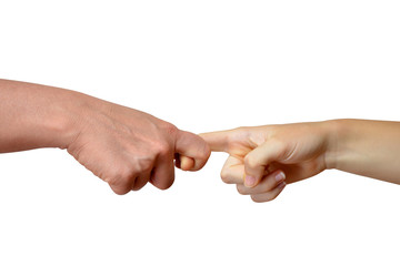 Holding hands fingers isolated on white background
