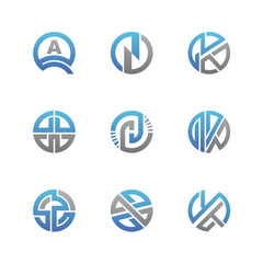Abstract Business and Consulting Vector Logo Set