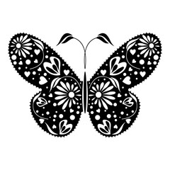 Vector illustration of insect, black decorative butterfly, isolated on the white background