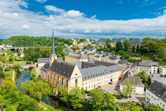 View on the Grund district of Luxembourg City with Neumuenster A
