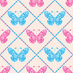 Seamless vector pattern with insects, symmetrical blue and pink background with butterflies. Decorative ornament. Series of Animals and Insects Seamless Patterns.