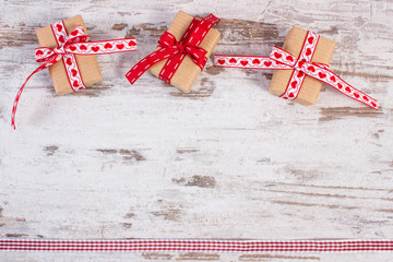 Wrapped gifts in recycled paper for Valentines or other celebration
