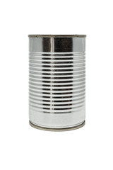 Close up of silver tin can isolated on a white background.