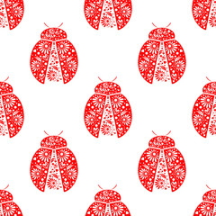 Seamless vector pattern with insects, symmetrical background with bright decorative red ladybugs, over white backdrop. Series of Animals and Insects Seamless Patterns.