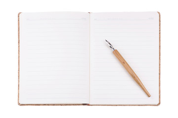 Vintage diary book and calligraphy pens on white background, for writing,reading and education concept