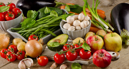 Fresh healthy organic vegetables and fruits.