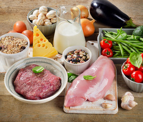 Assortment of Fresh Vegetables and Meats for Healthy Diet on a r