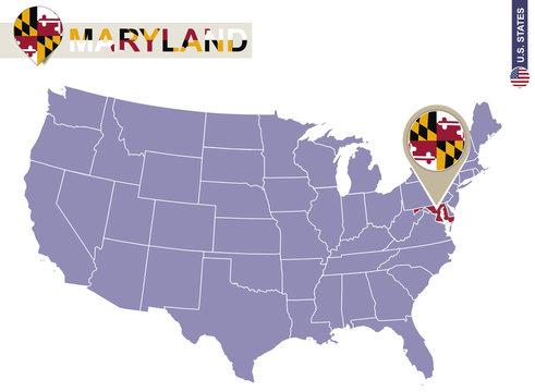 Maryland State on USA Map. Maryland flag and map.