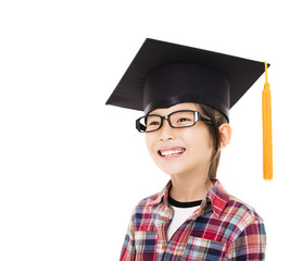 happy school kid graduate in graduation cap