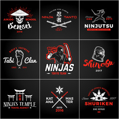 Set of Japan Ninjas Logo. Katana weapon insignia design. Vintage ninja mascot badge. Martial art Team t-shirt illustration concept.