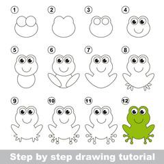 Green frog. Drawing tutorial.