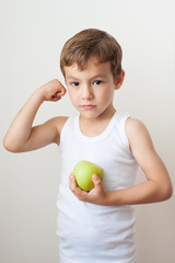kid child muscles showing strength training apple