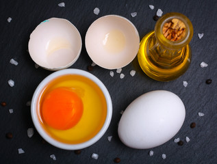 Cooking concept. Closeup shot of fresh chicken eggs